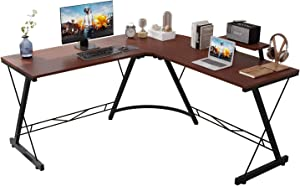Corner Side L Shaped Table, Home Office Computer Desk with Small Desktop Shelf, Study Writing Desk with Round Fillet Edge, Desks for SOHO/Workstation, Gaming Workstation with Monitor Stand (Mahogany)