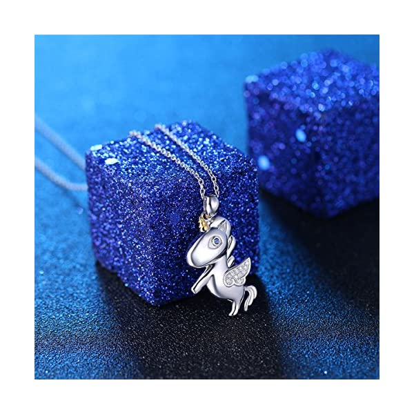 LINLIN FINE JEWELRY 925 Sterling Silver Cute Flying Unicorn Pendant Necklace for Women Girls, 18 inch 6
