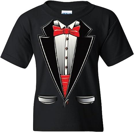 Funny Tuxedo Bow Tie Youth T-Shirt Tux Wedding Party Tee
