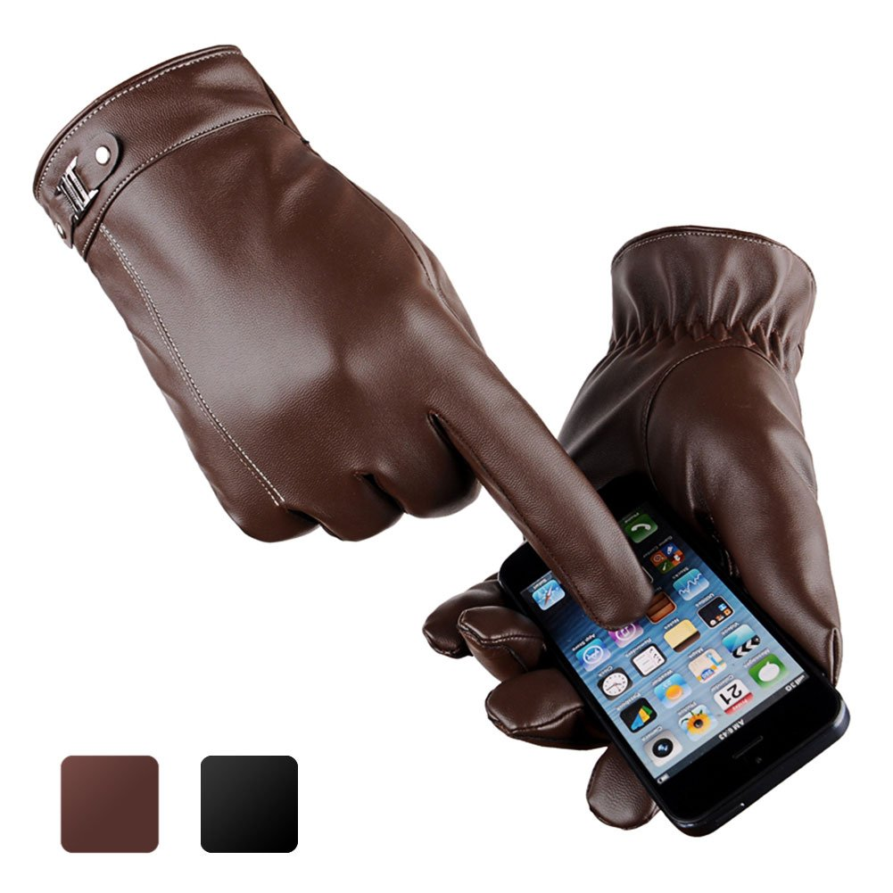 Men's Touchscreen Gloves, Ulstar Fleece Lining Leather Gloves Medium Size