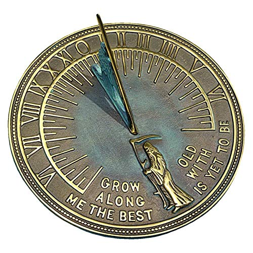 ANTIQUECOLLECTION Brass Father Time Sundial with Verdigris Highlights
