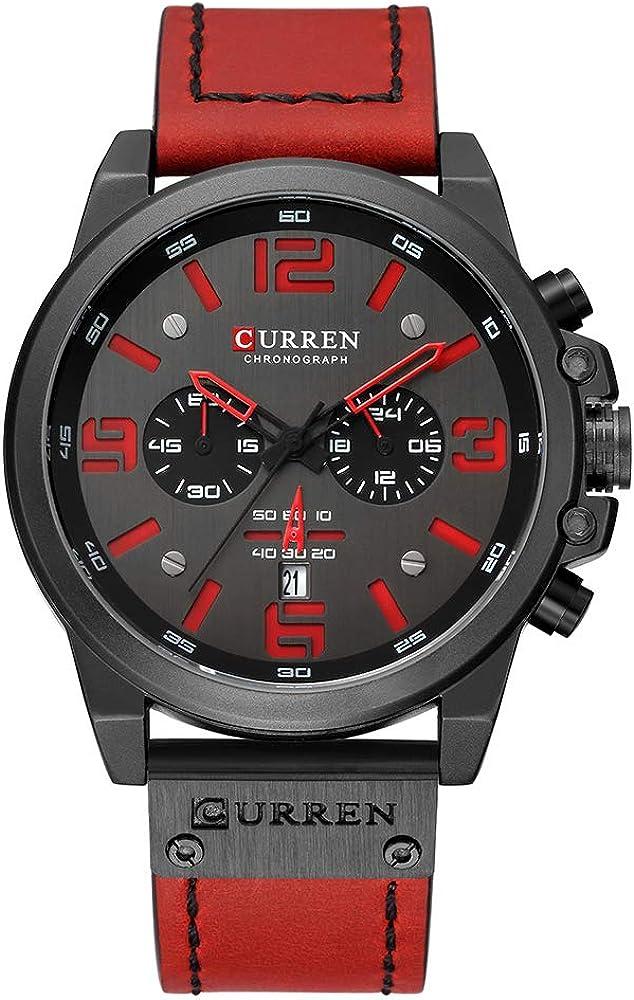 Curren - Reloj de pulsera para hombre (cuarzo, indicador de hora y minuto, correa de piel)