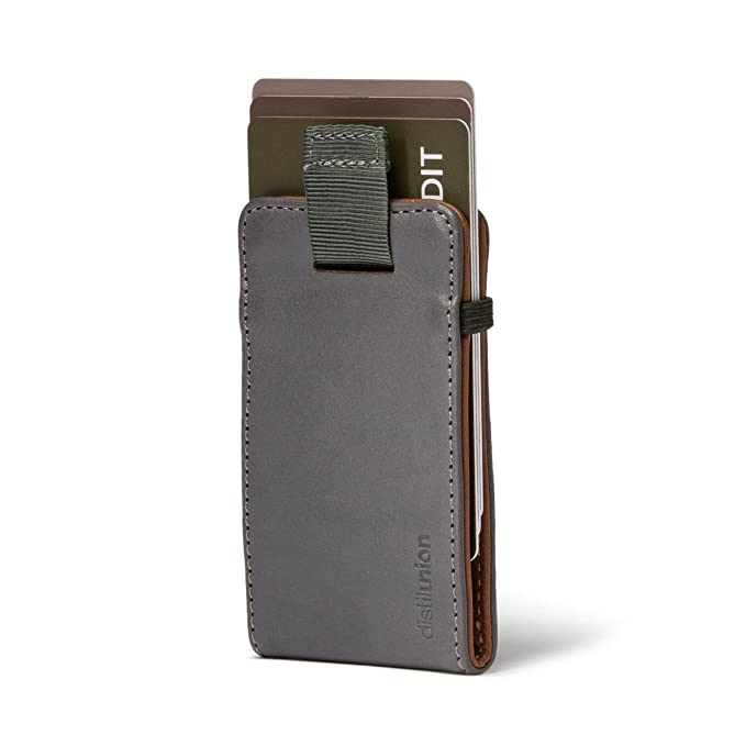 Distil Union Wally Micro - Premium Leather Minimalist Wallet and Card Holder (Gray/Brown)