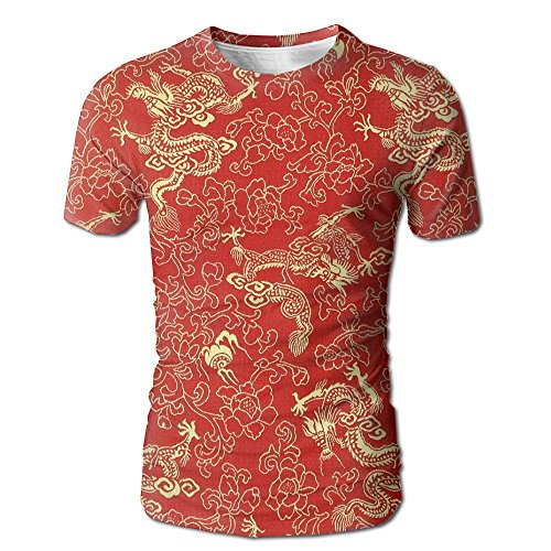 Shirt Dragon Silk (JeanCo Mens Fragment Of Red Chinese Silk With Golden Dragons and Flowers Cool Tshirt White M)