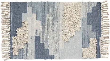 SHACOS Alfombra de Algodon Lavable Alfombra Salon Pelo Corto Alfombra Moderna Geometrica Azul Alfombra Dormitorio Suave Alfombra Tradicional Borlas,para Baño,Entrada,Sala de Estudio 60x90cm: Amazon.es: Hogar