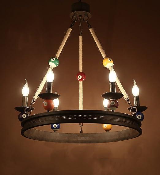 Araña, Lámpara de Billar Hierro + Cuerda de cáñamo Salón de Billar ...