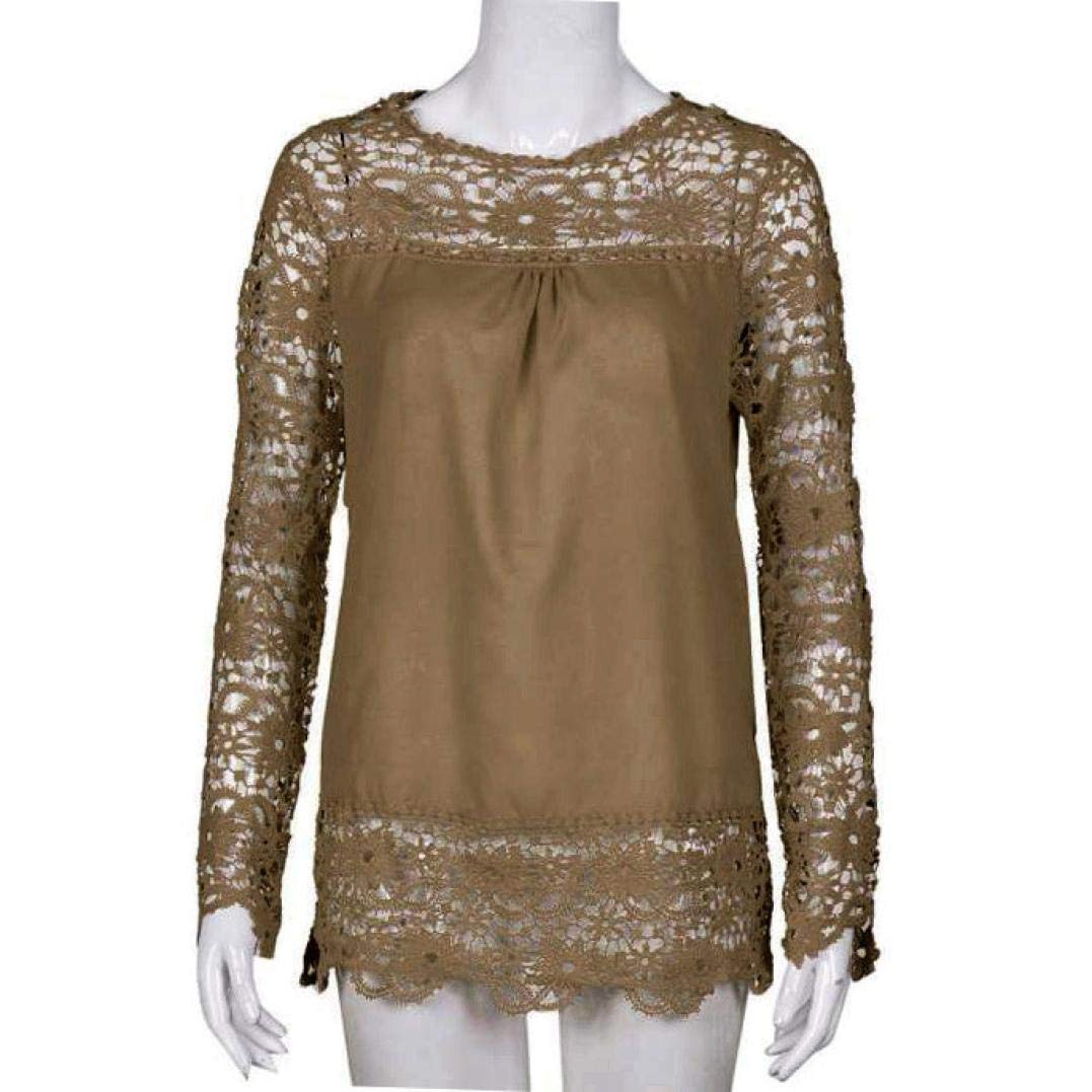 Women Plus Size Hollow Out Lace Splice Long Sleeve Shirt Casual Blouse Loose Top(Khaki,Medium) by iQKA (Image #3)