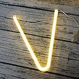LEDIARY LED Neon Tube Letter Sign Night Light Wall Decoration White Plastic For Birthday Wedding Party Hotel Bar Chrismas, Battery USB Powered - V
