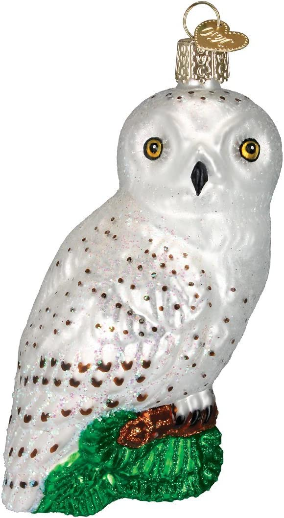 Old World Christmas Ornaments: Great White Owl Glass Blown Ornaments for Christmas Tree (16079)