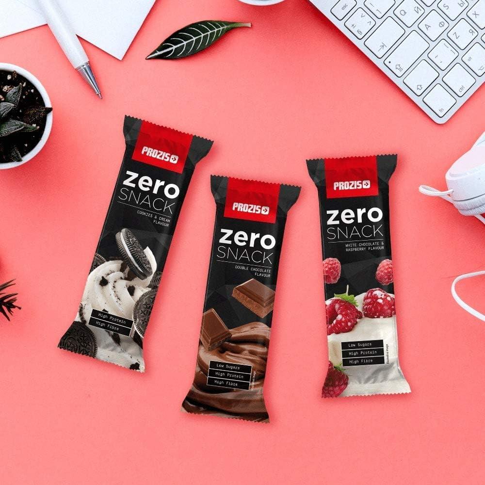 Prozis Zero Snack Barra Rico En Proteína y Bajo en Hidratos de Carbono y Azúcares, Doble Chocolate - 12 x 35 g