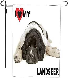 Rikki Knight I Love My Landseer Dog Design Decorative House or Garden Full Bleed Flag, 12 by 18-Inch