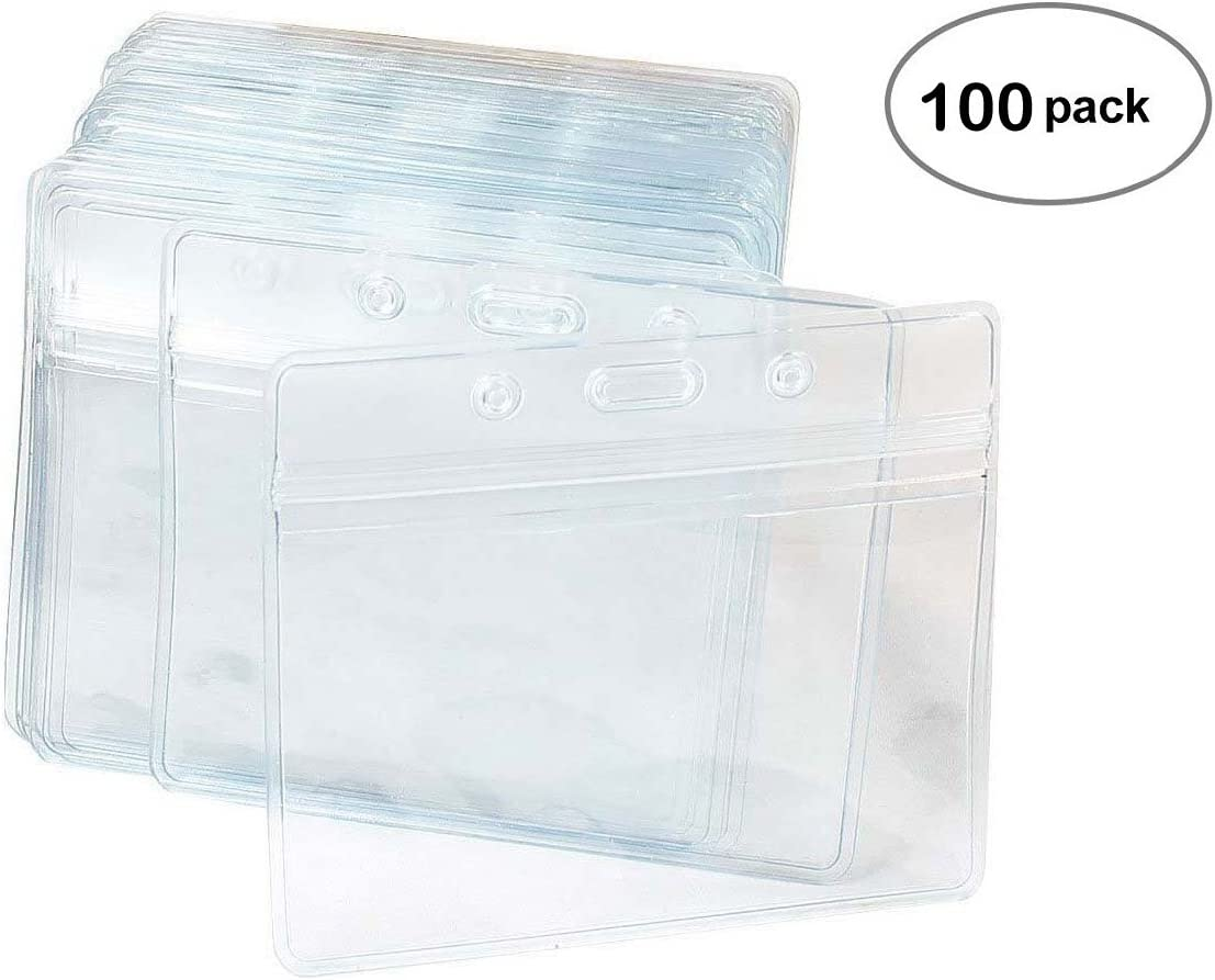 100 Pcs Clear Plastic Horizontal Name Tag Badge ID Card Holders : Office Products