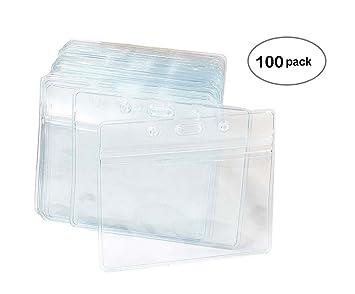 100Pcs Waterproof Transparent Vinyl Plastic Clear ID Card Name Tag Badge  !