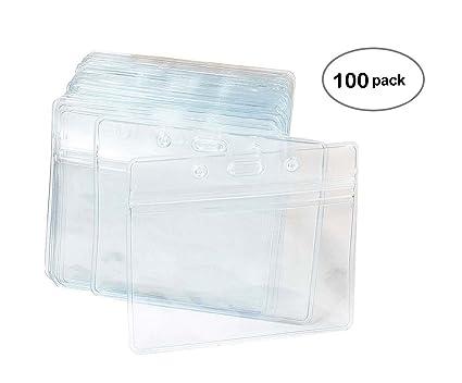100 pcs clear plastic horizontal name tag badge id card holders - Plastic Card Holder