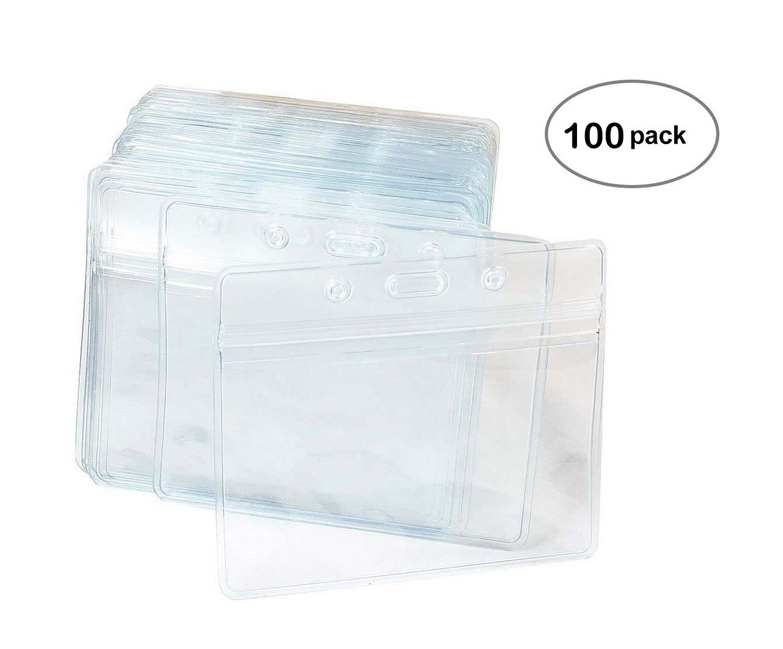 100 Pcs Clear Plastic Horizontal Name Tag Badge ID Card Holders by Fushing (Image #5)