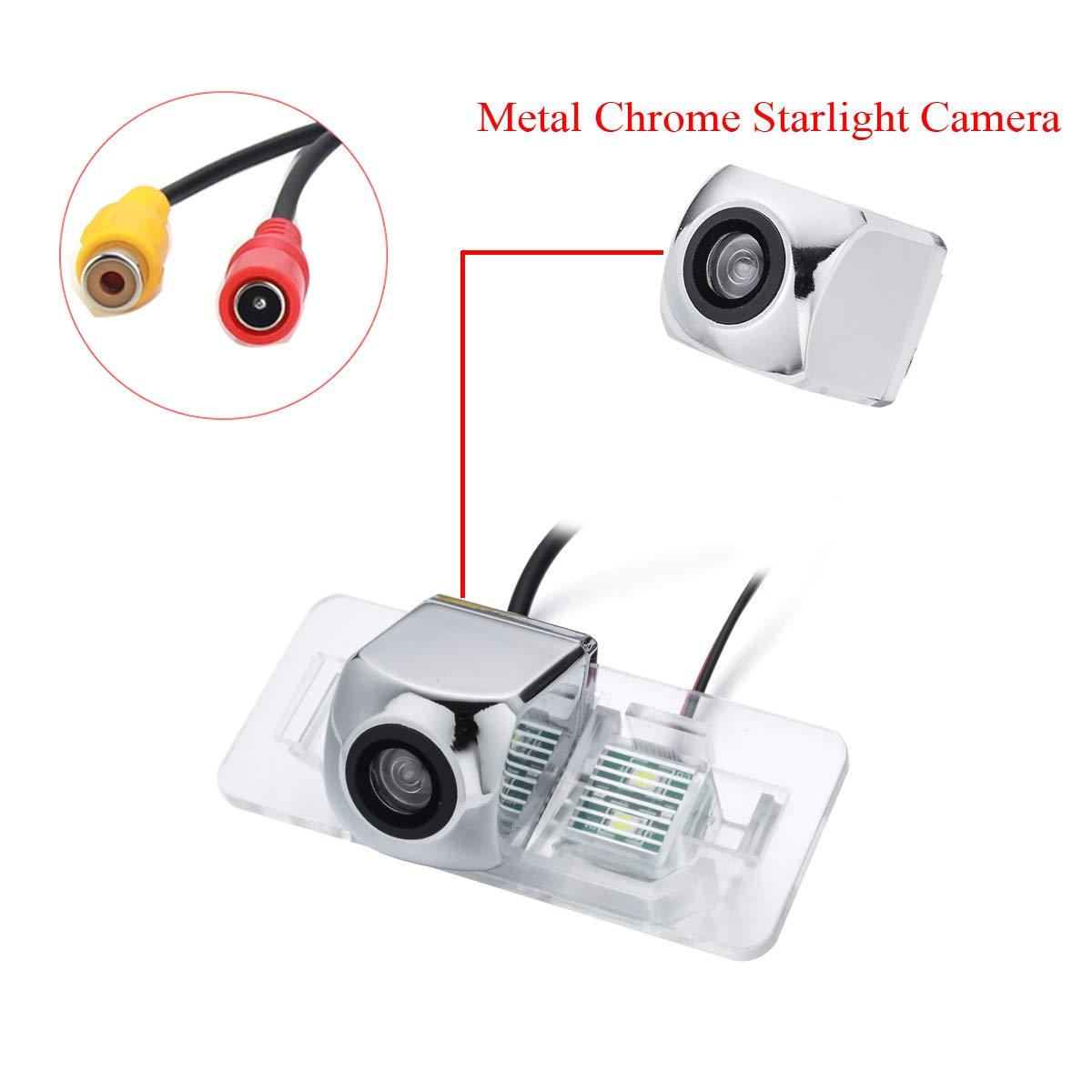 aSATAH Chrome Starlight Car Rear View Camera for BMW 3 E46 E90 E91 E92 5 E39 E60 E61 X5 E53 E70 /& Vehicle Camera Waterproof and Shockproof Reversing Backup Camera Chrome Starlight Camera