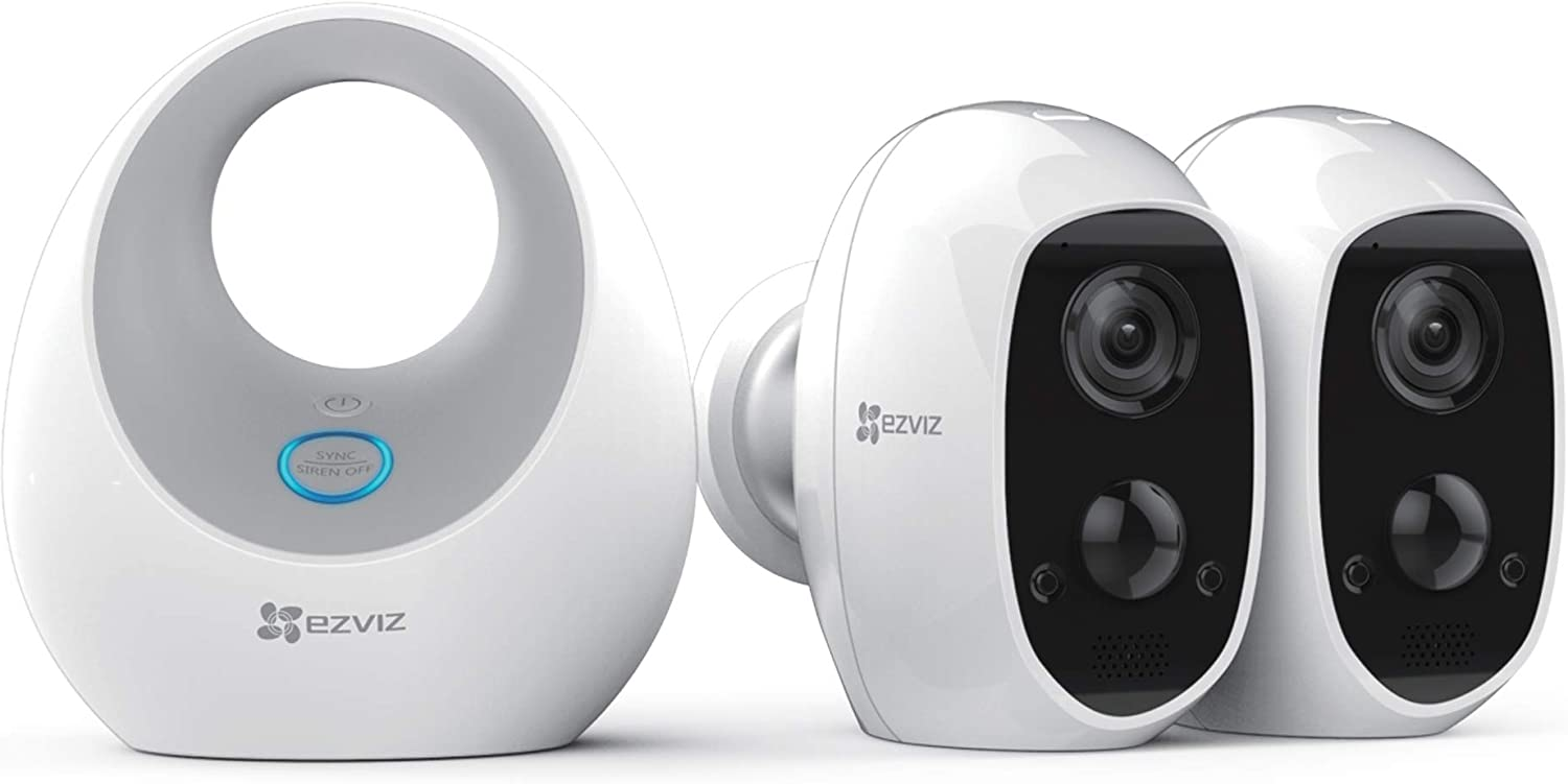 EZVIZ C3A - 100% Wire-Free 1080p Security Camera System, 2 Cameras + 1 Battery Optimizer with Siren, Two-Way Audio, PIR Motion Detection, 25ft Night Vision