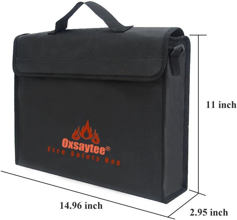 Sac DArgent Ignifuge| A4 Pochette enveloppante Sac de batterie Lipopour pour Argent Sac de Document R/ésistante /à Leau et au Feu Passeport Sac /à Documents Ignifuge Bijoux etc 15*11inch