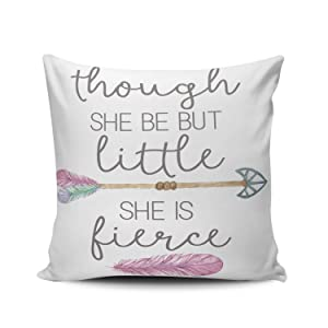 ONGING Decorative Throw Pillow Case Purple and White Nursery Little Fierce Arrow Tribal Feather Pillowcase Cushion Cover One Side Design Printed Square Size 16x16 inch