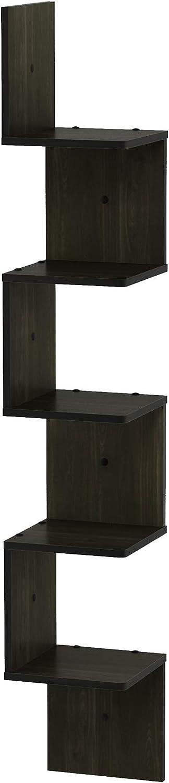 Furinno 5 Tier Wall Mount Floating Corner Square Shelf, Espresso