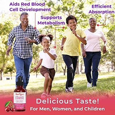 Organic Vitamin B Complex by MaryRuth | Hair Skin Nails Energy | Methyl B12 | Folate | Biotin | Niacin | Liquid Sublingual Supplement - Vitamins B3, 6, 7, 9, 12 - Vegan Non-GMO Tart Cherry -Glass 1oz