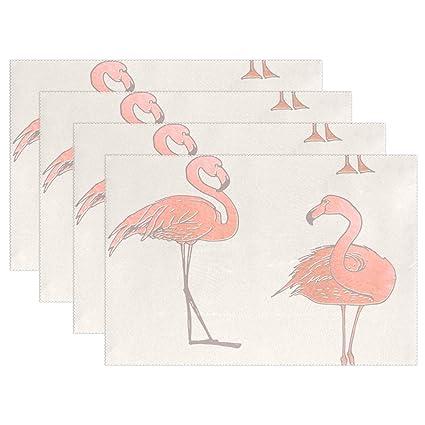 74e82771579d Amazon.com: Fengye Placemats Pink Flamingo Watercolor Kitchen Table ...