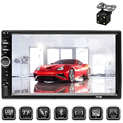 "Aigoss Car Stereo Bluetooth 7"" Touch Screen 2 Din Car Radio MP5 Video Digital Player Wireless Remote Control Hands Free Multimedia with Rear View Camera, Support Mirror Link/TF/FM/AUX/USB: Home Audio & Theater"