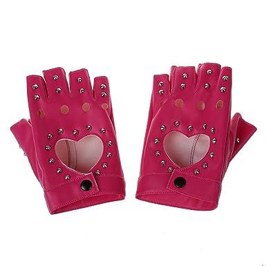 5d1c072e77ec51 SODIAL(R) Damen Fingerlose Handschuhe Damen PU Leder Niete Fingerlose  Handschuhe Rosa