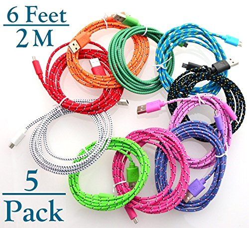 Josi Minea 5 Pcs Fabric Braided Nylon Premium Ruggedized Micro USB Rainbow Cables 6 Feet / 2 Meter Charger Sync Data Rapid Charging Cable USB Cord Wire for Samsung Galaxy S6 / S5 / S4 / S3 / S2, Samsung Galaxy Note / Note 2 / 3 / 4, Galaxy Tab, Google Nexus 7 / 10, Nokia Lumia, Most Android Tablets / Android Phones / Windows Phones - 6Ft/2M (5 Pack)