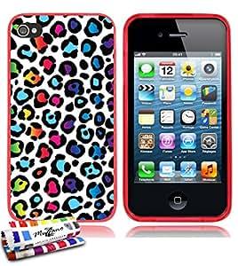 Carcasa Flexible Ultra-Slim APPLE IPHONE 4 de exclusivo motivo [Leopard rainbow] [Roja] de MUZZANO  + ESTILETE y PAÑO MUZZANO REGALADOS - La Protección Antigolpes ULTIMA, ELEGANTE Y DURADERA para su APPLE IPHONE 4