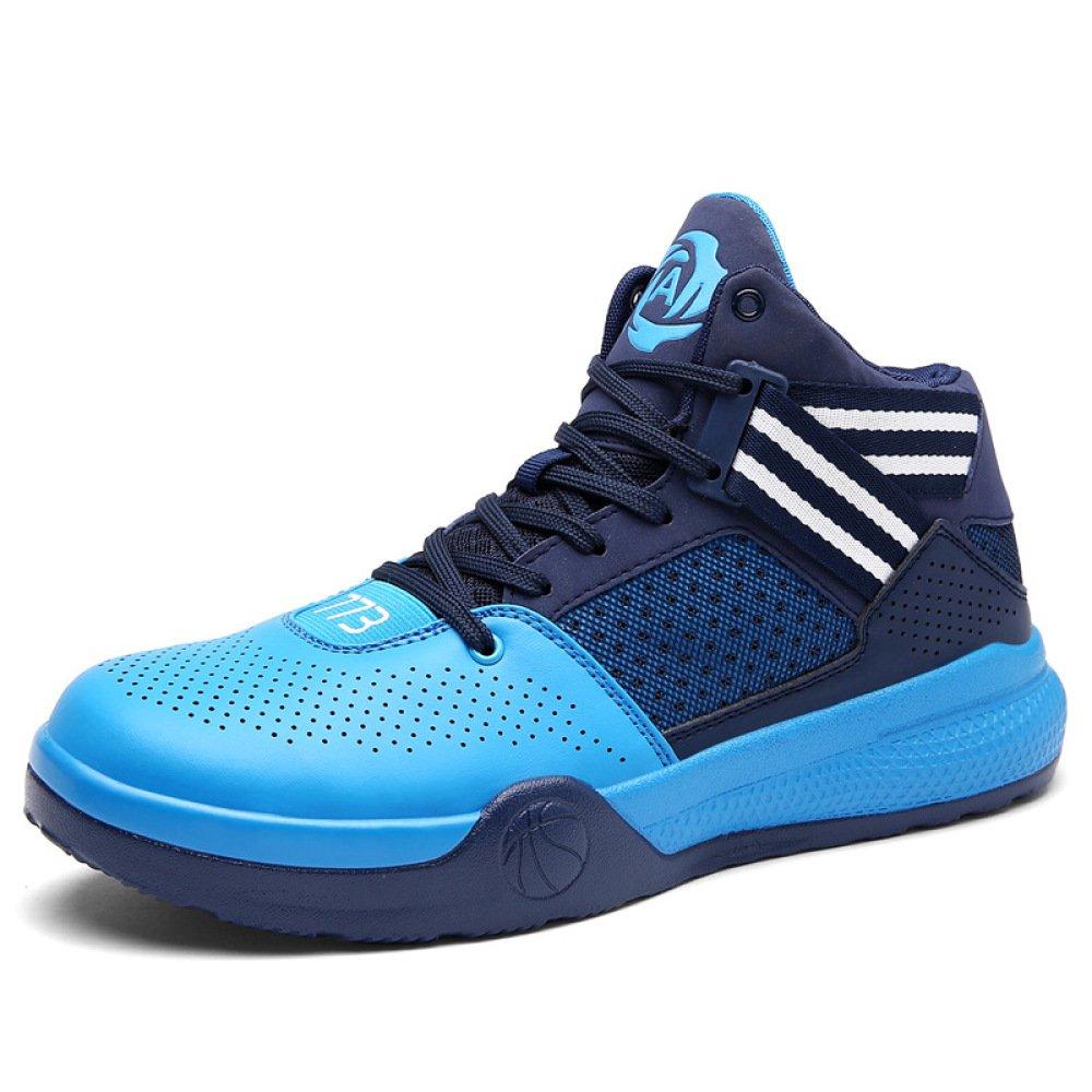 YXLONG Modelos De Explosión De Los Hombres Zapatos Azules Respirables Juventud Patín Deportes Alta Ayuda Zapatos De Baloncesto Botas De Cemento,Blue-42 42 blue