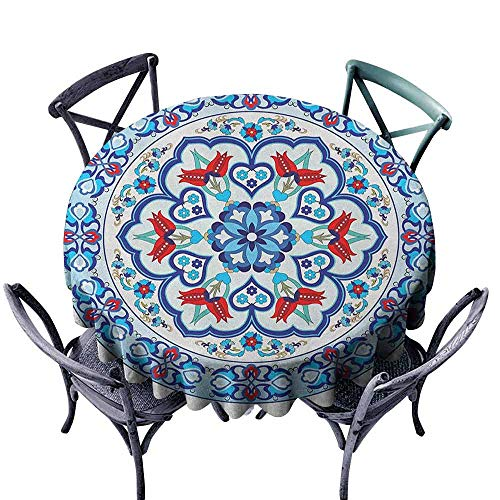 (G Idle Sky Antique Dustproof Tablecloth Ottoman Turkish Style Art with Tulip Period Ceramic Floral Elements European Print Easy Care D63 Multicolor)