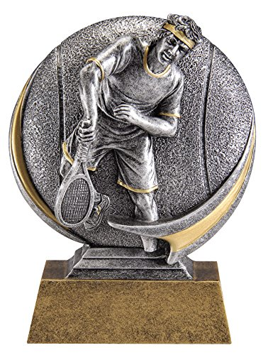 Male Tennis Motion Extreme 3D Trophy - Detailed Gold and Silver Finish - Customize Now - Personalized Engraved Plate Included and Attached to Award - Perfect Tennis Award Trophy - Decade Awards ()