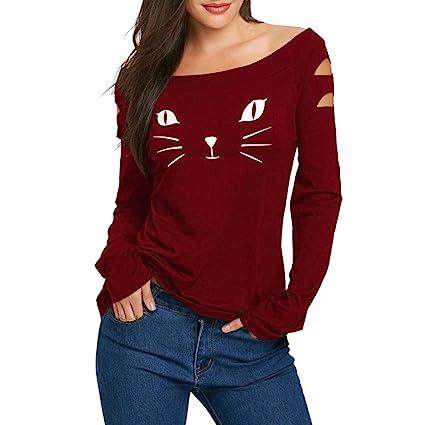 Camisa de mujer Sexy Moda Gato Fuera del hombro Suelto Casual Algodón Elegante Manga larga Tops