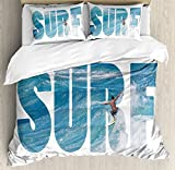 Surf Duvet Cover Set King Size by Ambesonne, Surfer Riding Giant Majestic Ocean Wave in Hawaii Adrenalin Epic Athlete Sea Pacific, Decorative 3 Piece Bedding Set with 2 Pillow Shams, Blue White