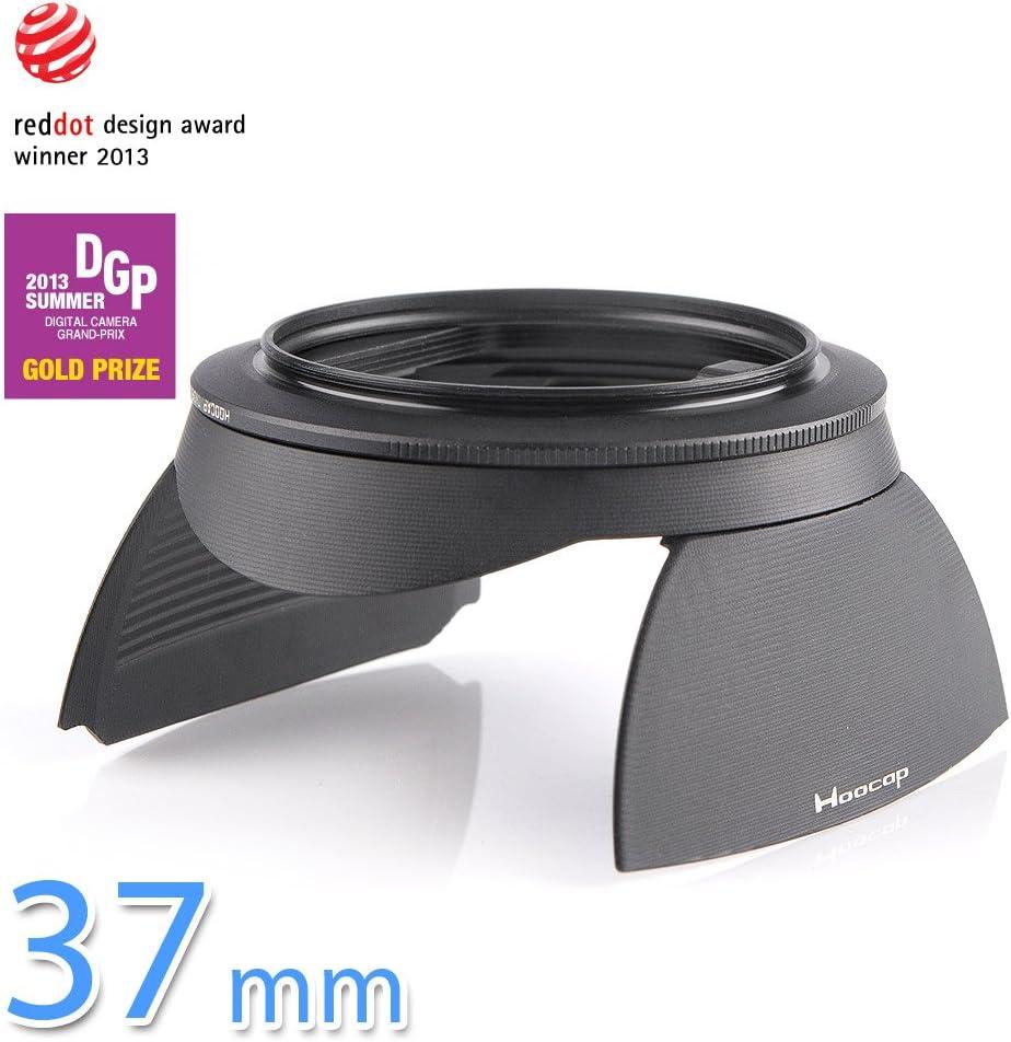 Hoocap DSLR 37mm f37 CNC aluminum lens cap black hood shade 2in1 filter thread screw on type