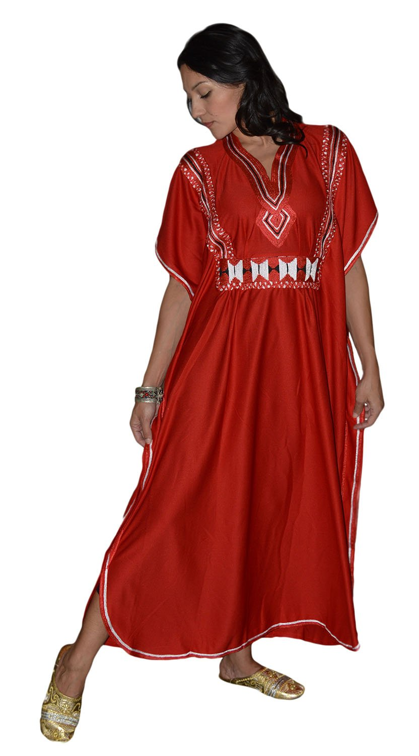 Moroccan Caftans Women Breathable Handmade Butterfly Style Embroidery Ethnic Design Red