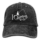 I Love Fishing Vintage Jeans Baseball Cap Adjustable Plain Cap Unisex