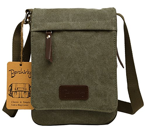 Small Canvas Classic Messenger Bag Field Journey Shoulder Bag for Traveling, Hiking, Camping