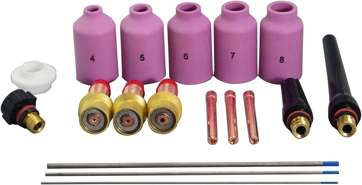 TIG cuerpo de collar de lente de gas y 2 porcentaje TIG Tungsteno lantanado Kit Ajuste DB SR WP17 WP18 WP26 soldadura TIG Torch 18pcs