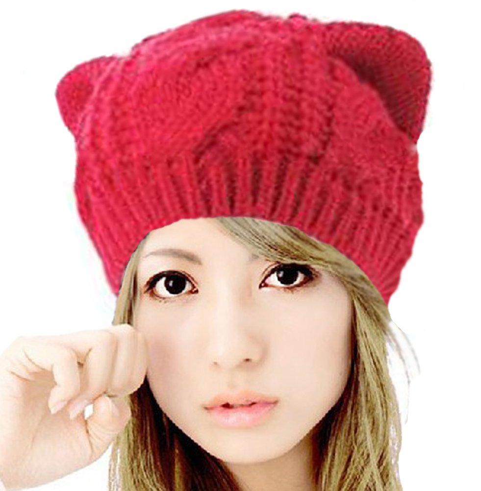 Demarkt Knitted Crochet Womens Girls Cat Ear Style Hat Beanie Cap ZHJ1356QY//UKK