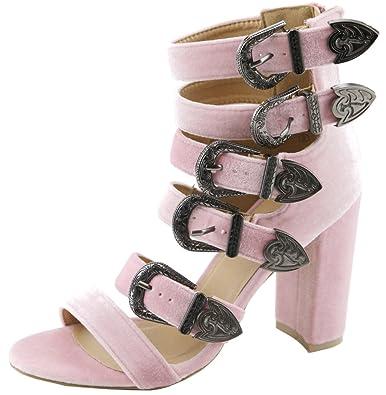 d5469066583 Lovmark Women s Caged Ankle Strappy Western Buckle Chunky Block Heel Sandal  (8.5 B(M