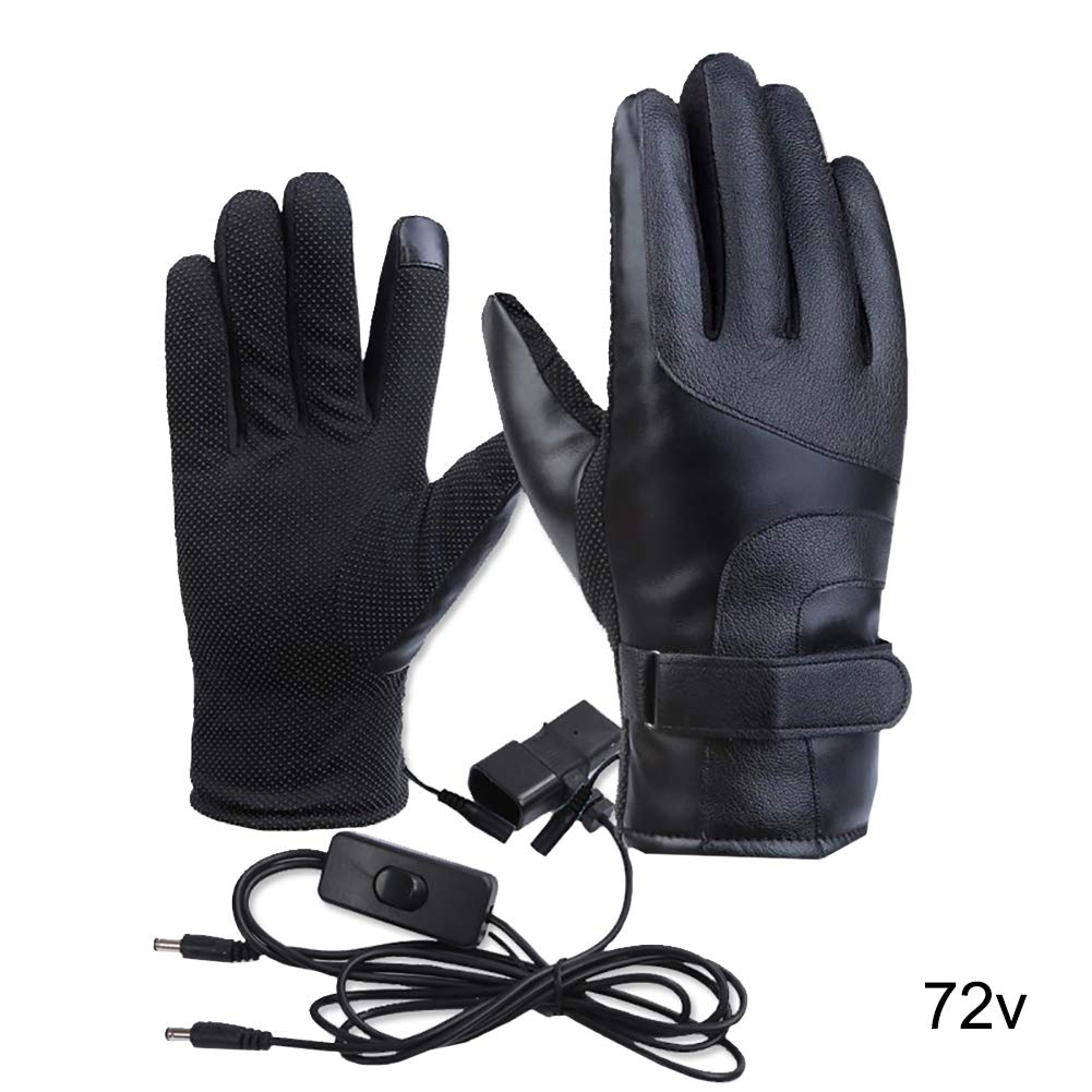 JujubeZAO Heated Warmer Warm Comfortable Waterproof Black 48V Electric Heating Touch Screen Winter Motorbike Cycling Waterproof Touch Screen Thermal Electric Heating Gloves