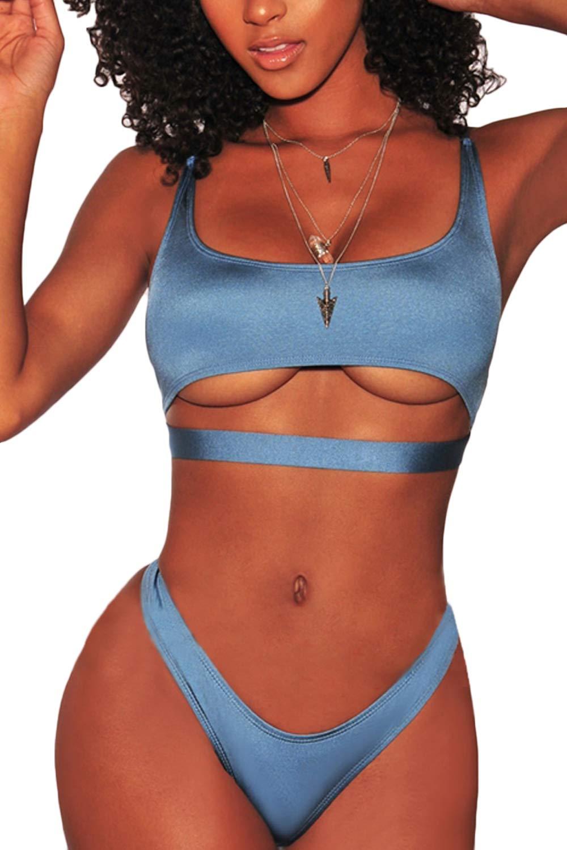 282ac55c0de Galleon - FAFOFA Women Plus Size Bikini Two Pieces Swimwear Scoop Neck Crop Top  High Cut Cheeky Bottom Two Pieces Bikini Swimsuit Blue XL