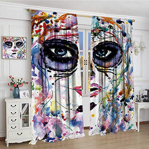 smallbeefly Sugar Skull Room Darkening Wide Curtains Halloween Girl with Sugar Skull Makeup Watercolor Painting Style Creepy Look Drapes For Living Room 108