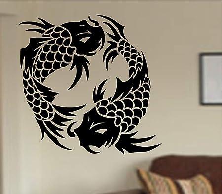 ONETOTOP Ying Yang Fish Tatuajes de Pared Japón Patrón Koi Animal ...
