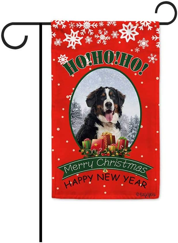 BAGEYOU Ho Ho Ho Merry Christmas with My Love Dog Bernese Mountain Dog Decorative Garden Flag Welcome Winter Snow Santa Present Home Decor Banner for Outside 12.5x18 Inch Print Both Sides