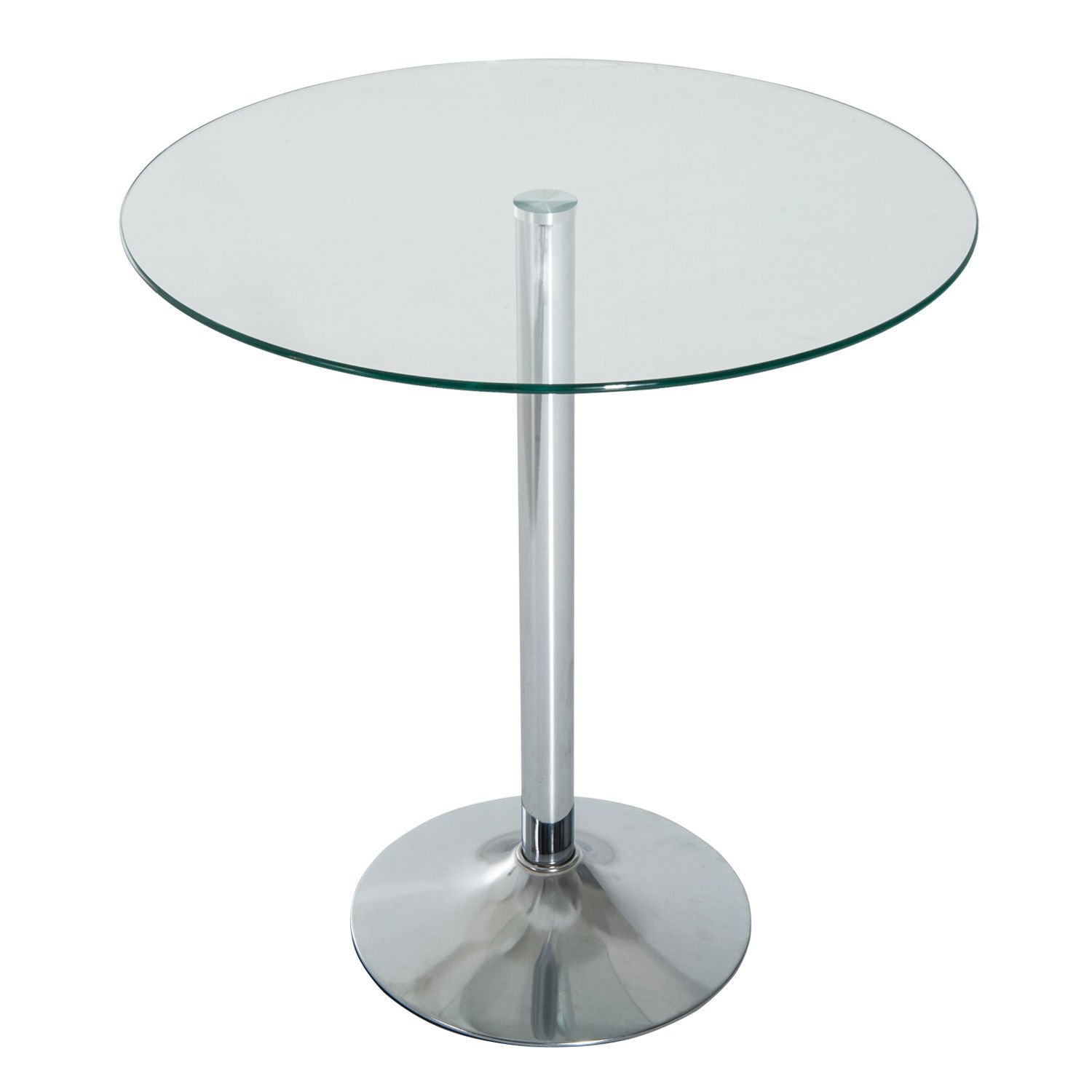 HOMCOM 28'' Round Glass Top Pub Bistro Bar Table (Clear)
