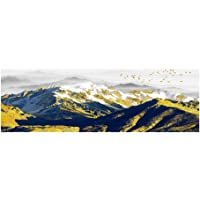 """woplmh Abstract Natural Golden Bird Snow Mountain Wall Art Pictures Painting Wall Art voor Living Room Home Decor-30x120cm (11,8 """"x47.2"""") No Frame"""