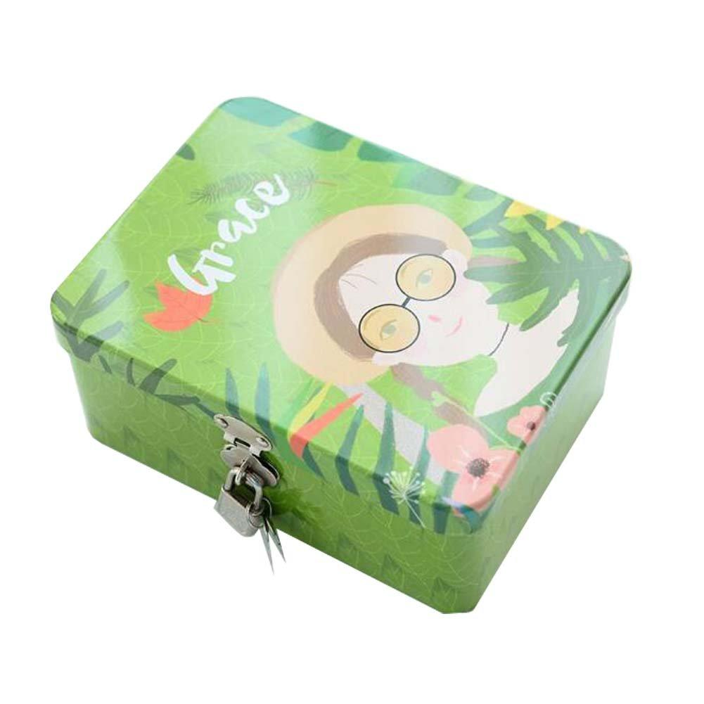 European Retro Cosmetics Jewelry Tinplate Storage Box With Lock #2